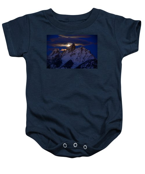 Full Moon Sets Over The Grand Teton Baby Onesie