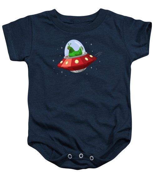 Funny Green Alien Martian Chicken In Flying Saucer Baby Onesie