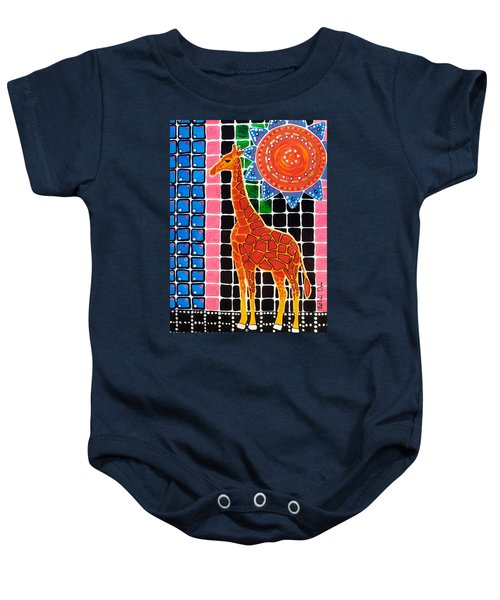 Baby Onesie featuring the painting Giraffe In The Bathroom - Art By Dora Hathazi Mendes by Dora Hathazi Mendes