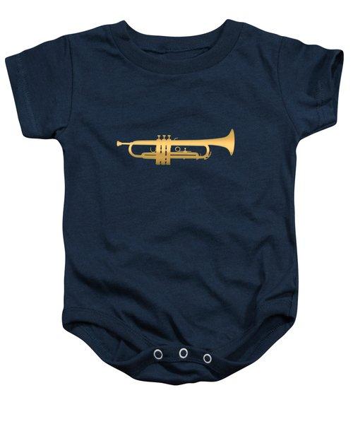 Gold Embossed Trumpet On Dark Midnight Blue Background Baby Onesie