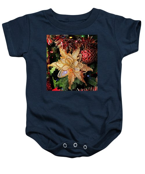 Golden Glitter Christmas Ornaments Baby Onesie