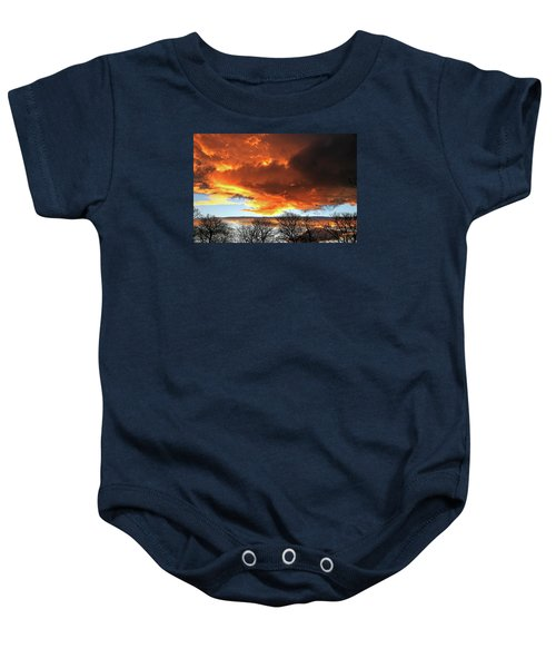 Golden Sunset With Filigree Trees Baby Onesie