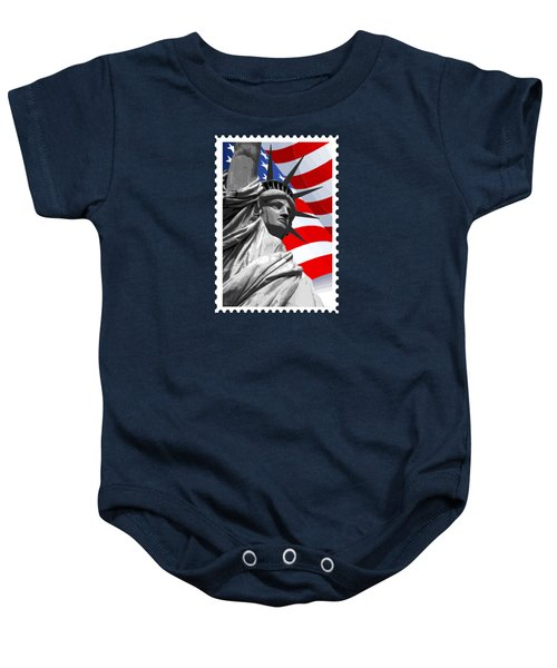 Graphic Statue Of Liberty With American Flag Baby Onesie by Elaine Plesser