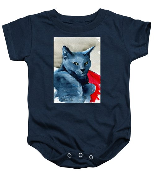 Handsome Russian Blue Cat Baby Onesie