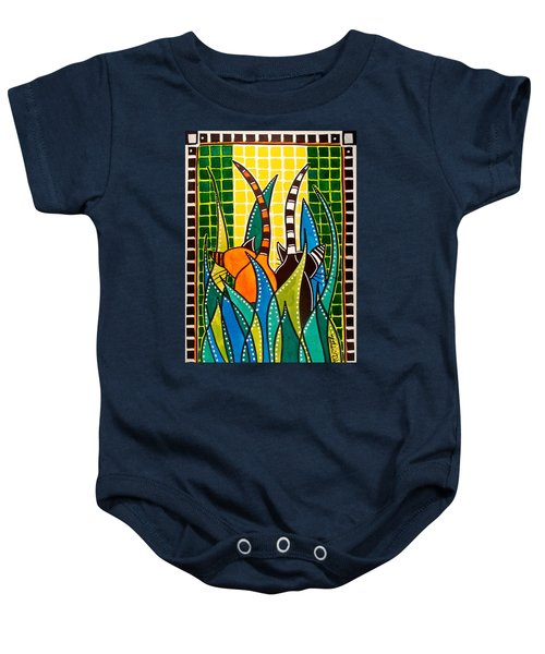 Baby Onesie featuring the painting Hide And Seek - Cat Art By Dora Hathazi Mendes by Dora Hathazi Mendes