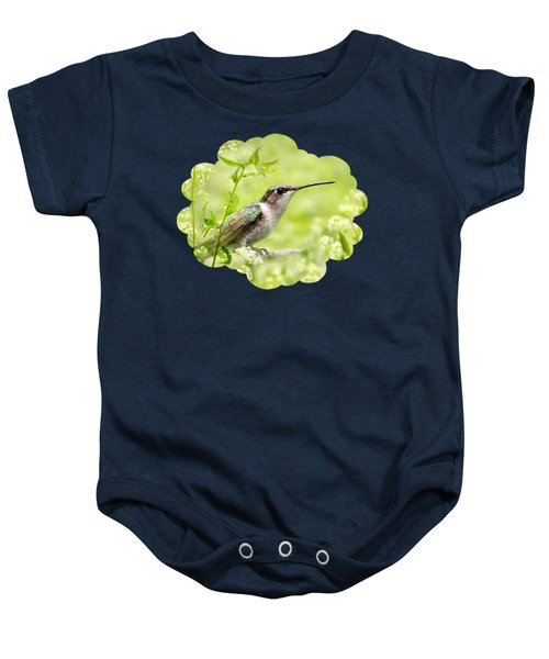 Hummingbird Hiding In Flowers Baby Onesie