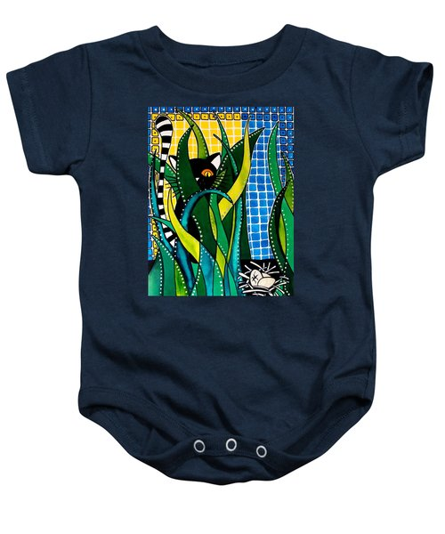 Baby Onesie featuring the painting Hunter In Camouflage - Cat Art By Dora Hathazi Mendes by Dora Hathazi Mendes