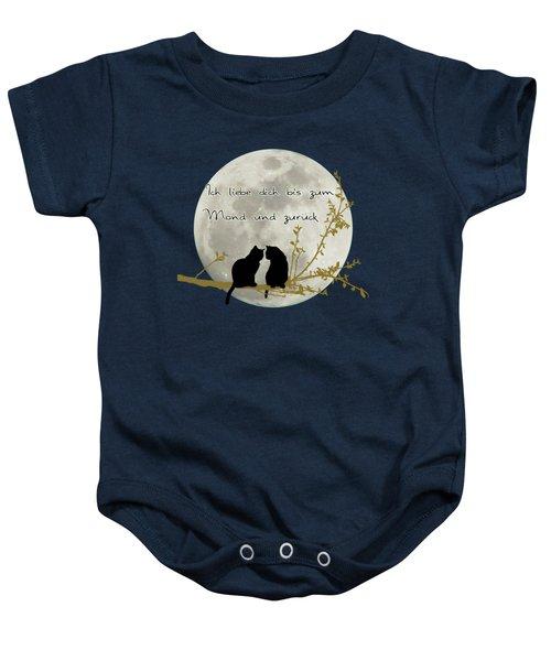 Ich Liebe Dich Bis Zum Mond Und Zuruck  Baby Onesie by Linda Lees