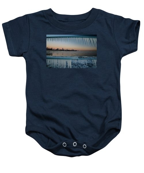 Icicles And Chicago Skyline Baby Onesie