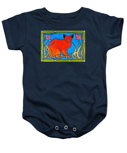 Baby Onesie featuring the painting Indian Cat With Lilies by Dora Hathazi Mendes