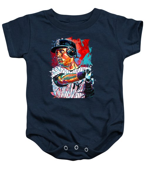 Jeter At Bat Baby Onesie by Maria Arango