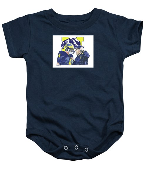 Jim Harbaugh And Bo Schembechler Baby Onesie by Chris Brown