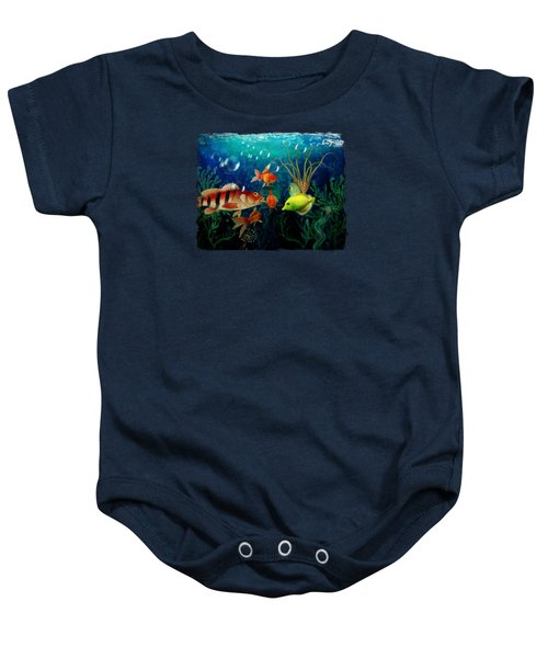 Joy To The Fishes  Baby Onesie by Terry Fleckney