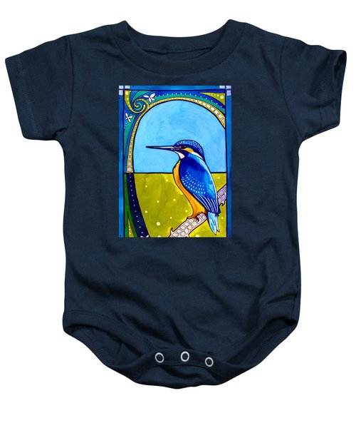 Baby Onesie featuring the painting Kingfisher by Dora Hathazi Mendes