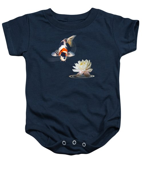 Koi Carp Abstract With Water Lily Square Baby Onesie by Gill Billington