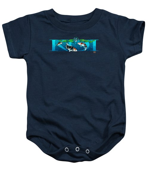 Koi With Type Baby Onesie by Rob Corsetti