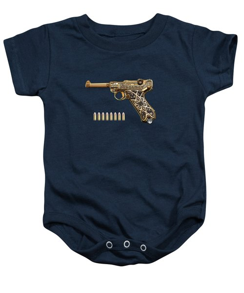 Krieghoff Presentation P.08 Luger With Ammo Over Blue Velvet  Baby Onesie