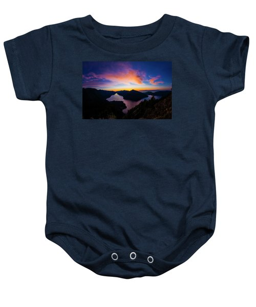 Lake Crescent Sunset Baby Onesie by Pelo Blanco Photo