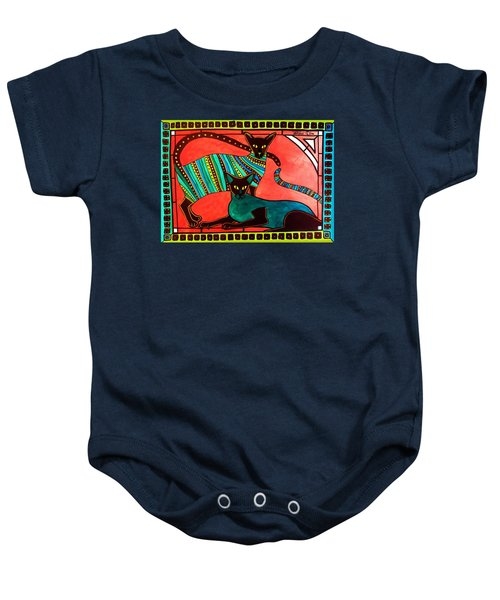 Baby Onesie featuring the painting Legend Of The Siamese - Cat Art By Dora Hathazi Mendes by Dora Hathazi Mendes