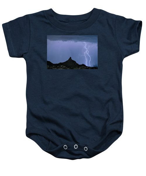 Baby Onesie featuring the photograph Lightning Bolts And Pinnacle Peak North Scottsdale Arizona by James BO Insogna