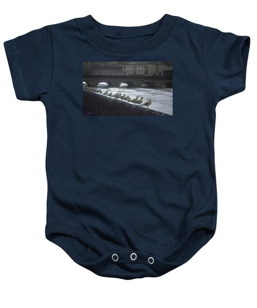 Line Of Birds Baby Onesie