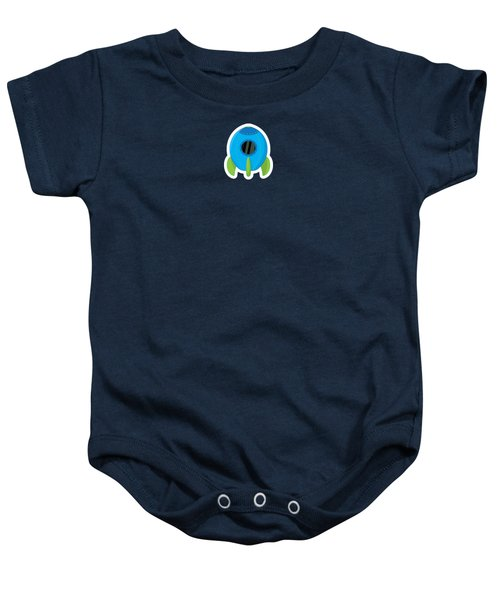 Little Blue Rocket Ship Baby Onesie by Nathan Poland