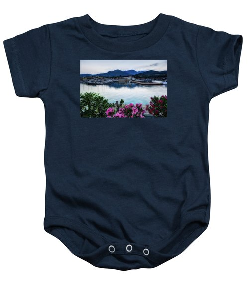Loano Sunset Over Sea And Mountains With Flowers Baby Onesie