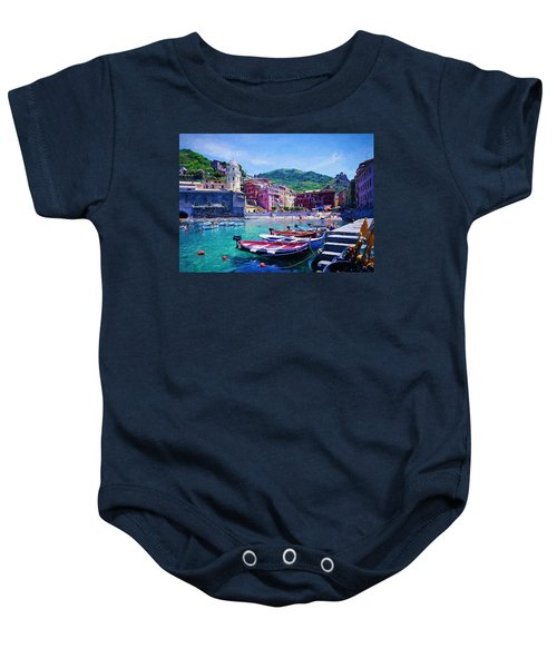 Baby Onesie featuring the digital art Lovely Liguria by Charmaine Zoe