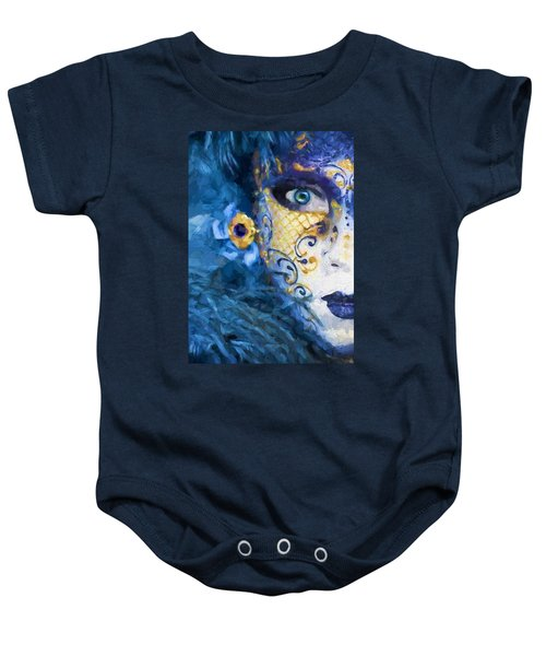 Baby Onesie featuring the digital art Masquerade I by Charmaine Zoe