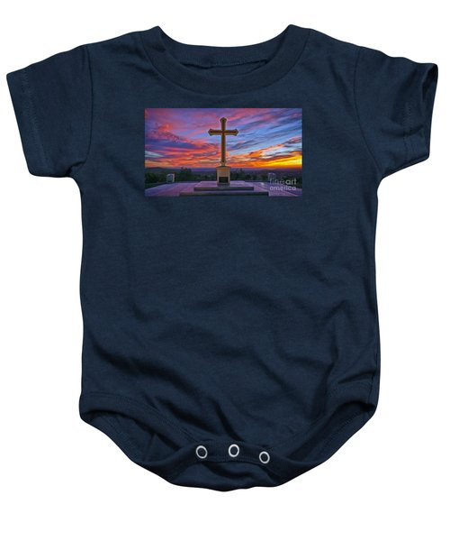 Christian Cross And Amazing Sunset Baby Onesie