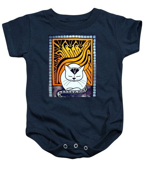 Baby Onesie featuring the painting Meditation - Cat Art By Dora Hathazi Mendes by Dora Hathazi Mendes