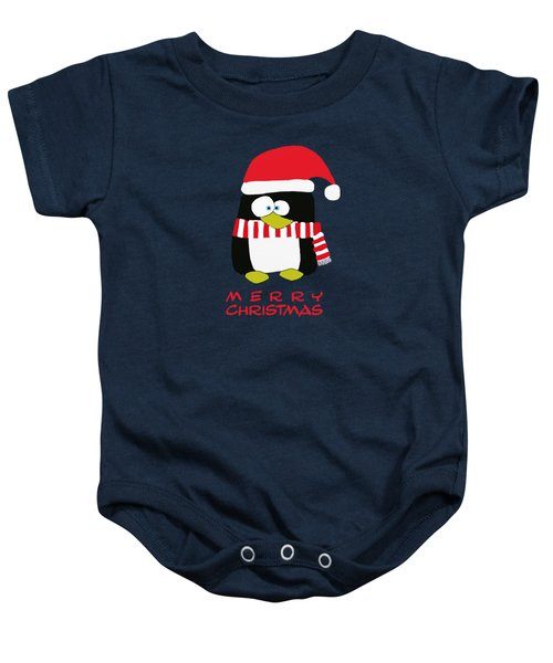 Merry Christmas Penguin Baby Onesie by Priscilla Wolfe
