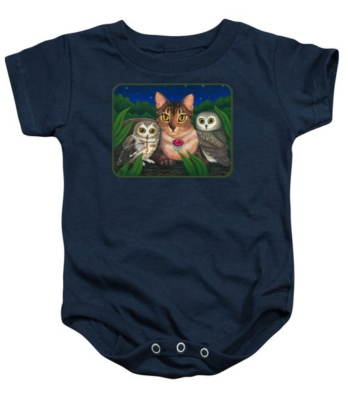 Midnight Watching - Abyssinian Cat Saw Whet Owls Baby Onesie
