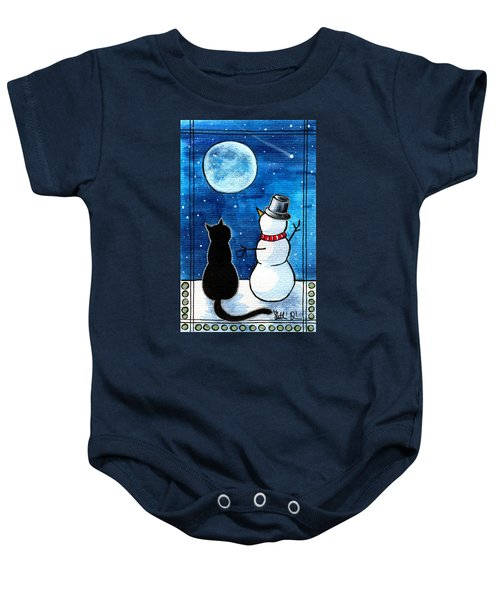 Moon Watching With Snowman - Christmas Cat Baby Onesie