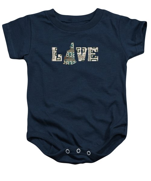 New Hampshire State Love Heart License Plates Art Phrase Baby Onesie