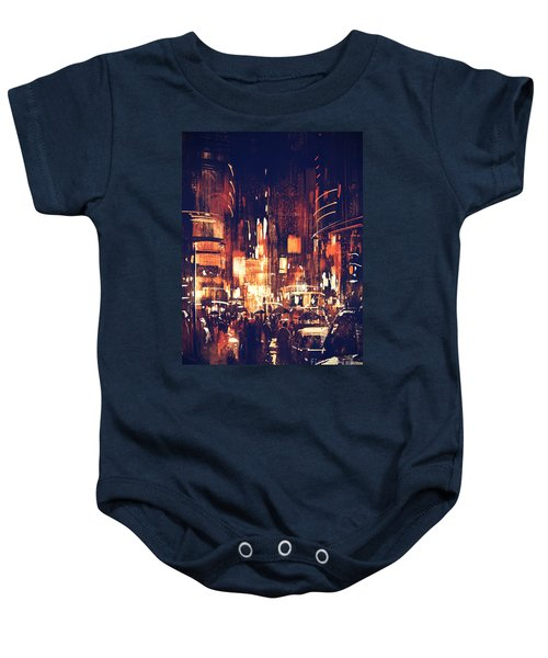 Baby Onesie featuring the painting Night Life by Tithi Luadthong