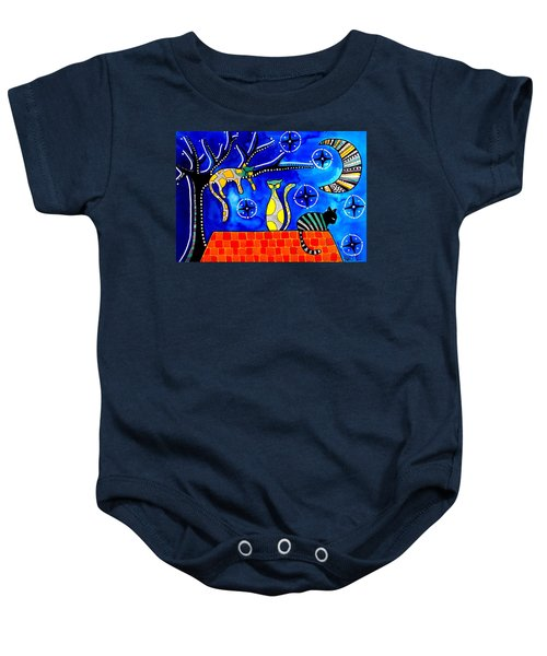Baby Onesie featuring the painting Night Shift - Cat Art By Dora Hathazi Mendes by Dora Hathazi Mendes