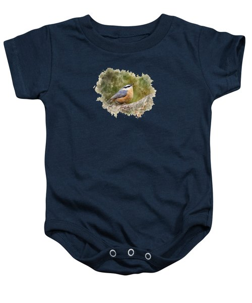 Nuthatch Watercolor Art Baby Onesie