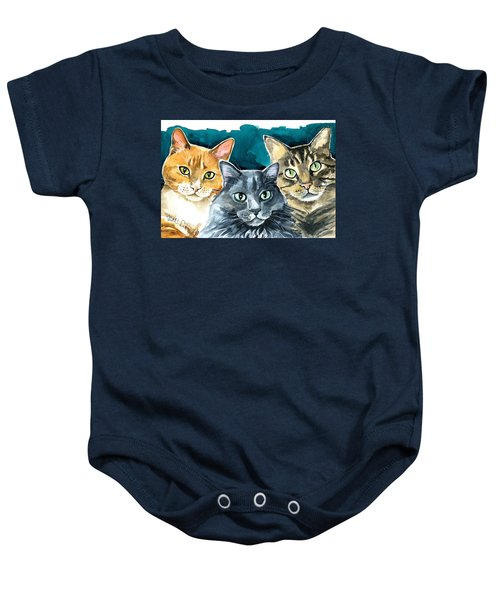 Oliver, Willow And Walter - Cat Painting Baby Onesie