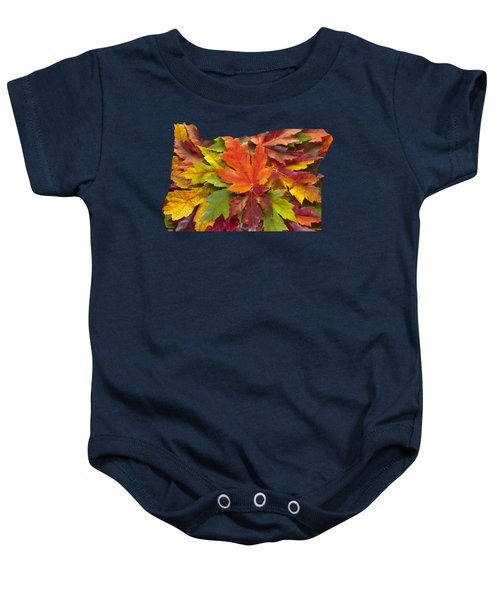 Oregon Maple Leaves Mixed Fall Colors Background Baby Onesie