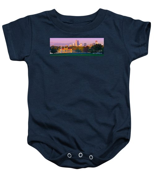 Panorama Of Denver Skyline From Museum Of Nature And Science - City Park Denver Colorado Baby Onesie
