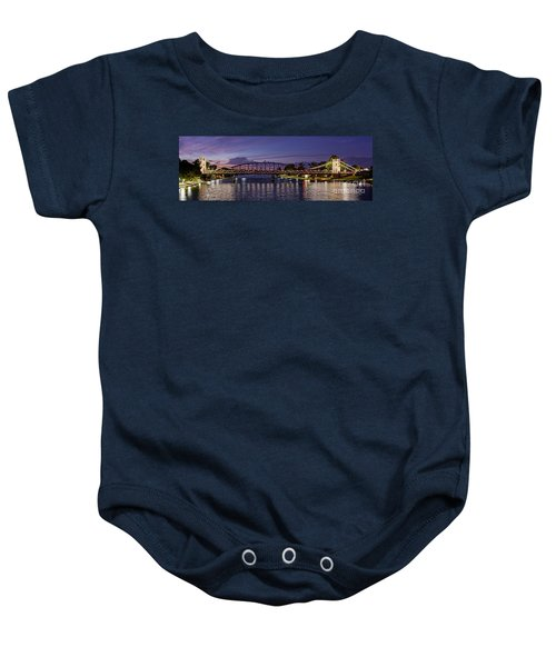 Panorama Of Waco Suspension Bridge Over The Brazos River At Twilight - Waco Central Texas Baby Onesie