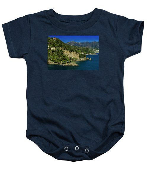 Paraggi Bay Castle And Liguria Mountains Portofino Park  Baby Onesie