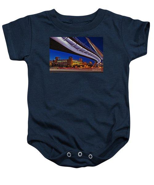 Petco Park And The Harbor Drive Pedestrian Bridge In Downtown San Diego  Baby Onesie