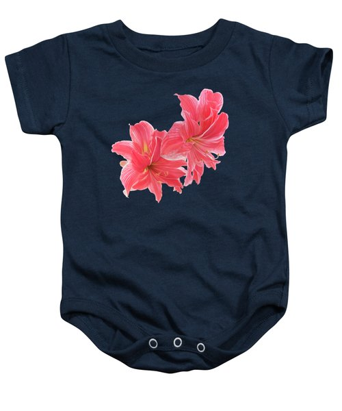 Pink Amaryllis On Black Baby Onesie