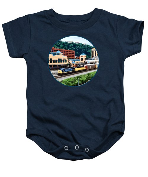 Pittsburgh Pa - Freight Train Going By Station Square Baby Onesie by Susan Savad