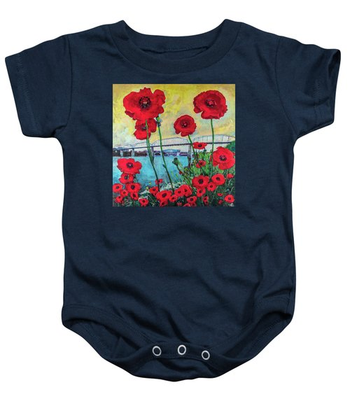Poppies Along The Riverfront Baby Onesie