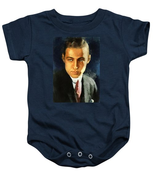 Baby Onesie featuring the digital art Portrait Of Rudolph Valentino by Charmaine Zoe