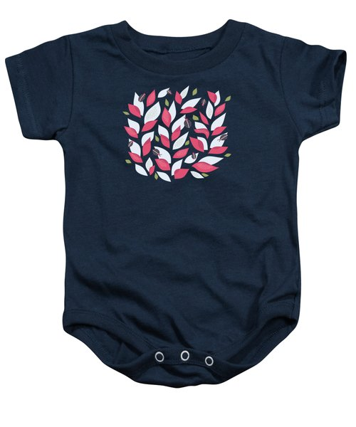 Pretty Plant With White Pink Leaves And Ladybugs Baby Onesie