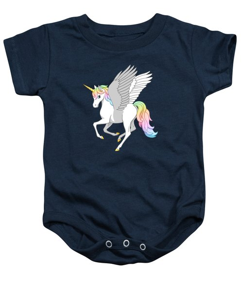Pretty Rainbow Unicorn Flying Horse Baby Onesie